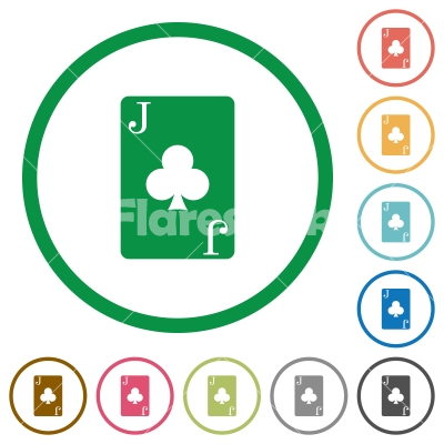 Jack of clubs card flat icons with outlines - Jack of clubs card flat color icons in round outlines on white background