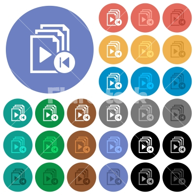 Jump to previous playlist item round flat multi colored icons - Jump to previous playlist item multi colored flat icons on round backgrounds. Included white, light and dark icon variations for hover and active status effects, and bonus shades on black backgounds.