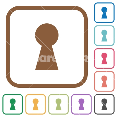 Keyhole simple icons - Keyhole simple icons in color rounded square frames on white background