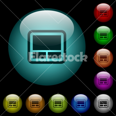 Laptop touchpad icons in color illuminated glass buttons - Laptop touchpad icons in color illuminated spherical glass buttons on black background. Can be used to black or dark templates