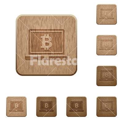 Laptop with Bitcoin sign wooden buttons - Laptop with Bitcoin sign on rounded square carved wooden button styles - Free stock vector
