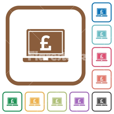 Laptop with Pound sign simple icons - Laptop with Pound sign simple icons in color rounded square frames on white background