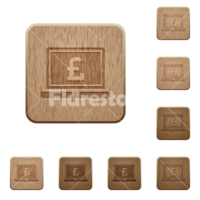 Laptop with Pound sign wooden buttons - Laptop with Pound sign on rounded square carved wooden button styles