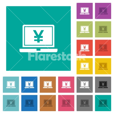 Laptop with yen sign square flat multi colored icons - Laptop with yen sign multi colored flat icons on plain square backgrounds. Included white and darker icon variations for hover or active effects.