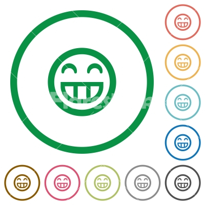 Laughing emoticon flat icons with outlines - Laughing emoticon flat color icons in round outlines