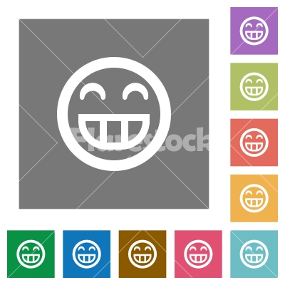 Laughing emoticon square flat icons - Laughing emoticon flat icons on simple color square backgrounds