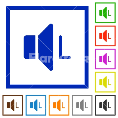 Left audio channel flat framed icons - Left audio channel flat color icons in square frames on white background