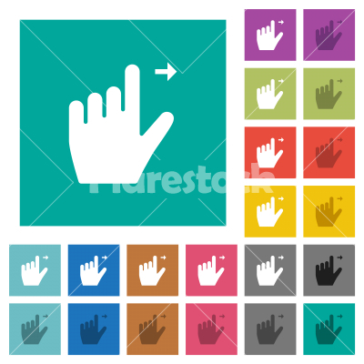 Left handed move right gesture square flat multi colored icons - Left handed move right gesture multi colored flat icons on plain square backgrounds. Included white and darker icon variations for hover or active effects.
