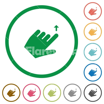 Left handed move up gesture flat icons with outlines - Left handed move up gesture flat color icons in round outlines on white background