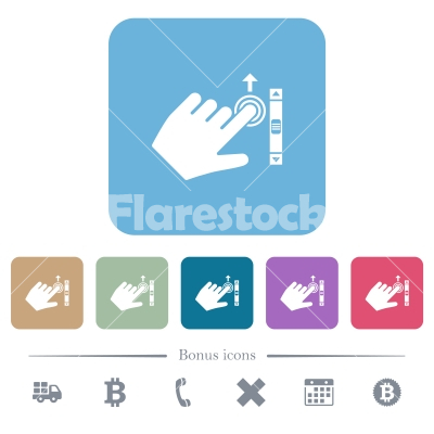 Left handed scroll up gesture flat icons on color rounded square backgrounds - Left handed scroll up gesture white flat icons on color rounded square backgrounds. 6 bonus icons included