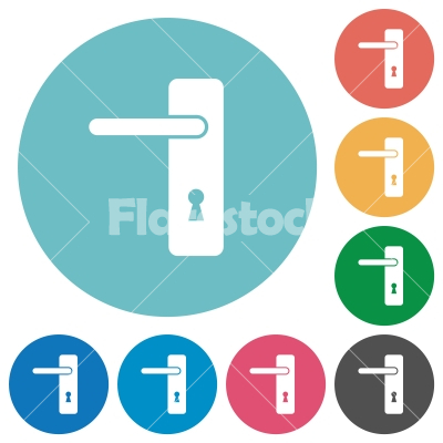 Left handed simple door handle flat round icons - Left handed simple door handle flat white icons on round color backgrounds