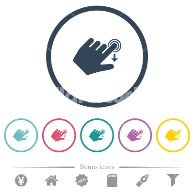 Left handed slide down gesture flat color icons in round outlines - Left handed slide down gesture flat color icons in round outlines. 6 bonus icons included.