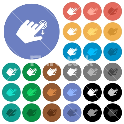 Left handed slide down gesture round flat multi colored icons - Left handed slide down gesture multi colored flat icons on round backgrounds. Included white, light and dark icon variations for hover and active status effects, and bonus shades.