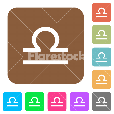 libra zodiac symbol rounded square flat icons - libra zodiac symbol flat icons on rounded square vivid color backgrounds.