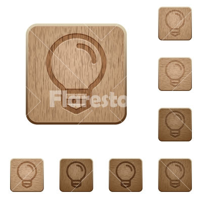 Light bulb wooden buttons - Set of carved wooden light bulb buttons. 8 variations included. Arranged layer structure. - Free stock vector