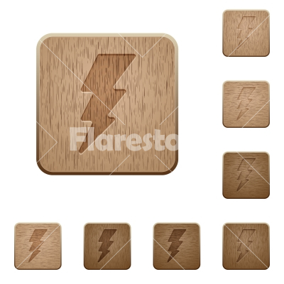 Lightning energy wooden buttons - Lightning energy on rounded square carved wooden button styles