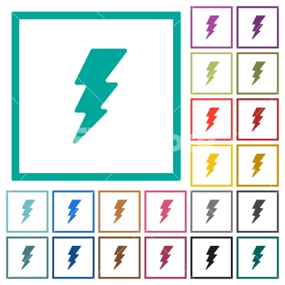 Lightning flat color icons with quadrant frames - Lightning flat color icons with quadrant frames on white background