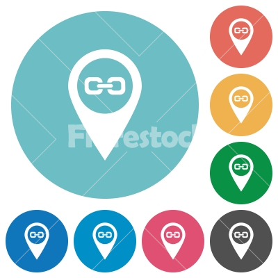 Link GPS map location flat round icons - Link GPS map location flat white icons on round color backgrounds