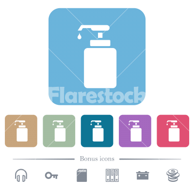 Liquid soap flat icons on color rounded square backgrounds - Liquid soap white flat icons on color rounded square backgrounds. 6 bonus icons included