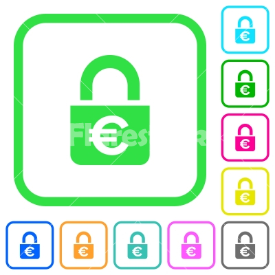 Locked euros vivid colored flat icons - Locked euros vivid colored flat icons in curved borders on white background