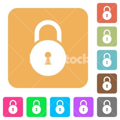 Locked round padlock with keyhole rounded square flat icons - Locked round padlock with keyhole flat icons on rounded square vivid color backgrounds. - Free stock vector