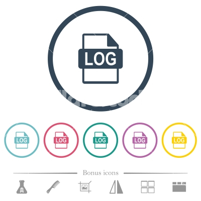 LOG file format flat color icons in round outlines - LOG file format flat color icons in round outlines. 6 bonus icons included.