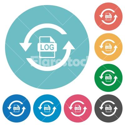 Log file rotation flat round icons - Log file rotation flat white icons on round color backgrounds