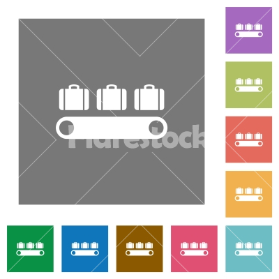 Luggage conveyor square flat icons - Luggage conveyor flat icons on simple color square backgrounds