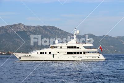 Luxury yacht - White luxury private yacht on the Mediterrain sea