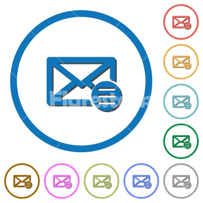 Mail options icons with shadows and outlines - Mail options flat color vector icons with shadows in round outlines on white background