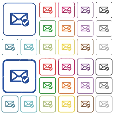 Mail read outlined flat color icons - Mail read color flat icons in rounded square frames. Thin and thick versions included.