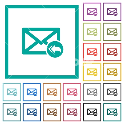 Mail reply to all recipient flat color icons with quadrant frames - Mail reply to all recipient flat color icons with quadrant frames on white background