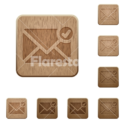 Mail sent wooden buttons - Set of carved wooden Mail sent buttons in 8 variations.