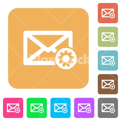 Mail settings rounded square flat icons - Mail settings flat icons on rounded square vivid color backgrounds.