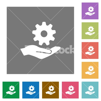 Maintenance service square flat icons - Maintenance service flat icons on simple color square backgrounds