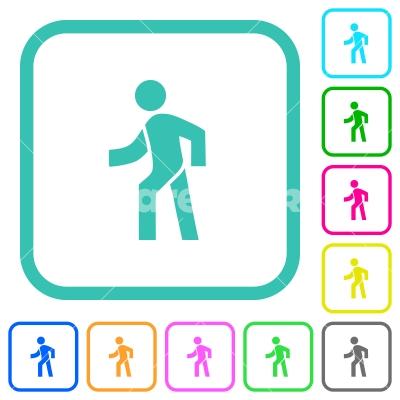 Man walking left vivid colored flat icons - Man walking left vivid colored flat icons in curved borders on white background