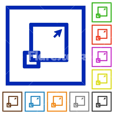 Maximize window framed flat icons - Set of color square framed maximize window flat icons