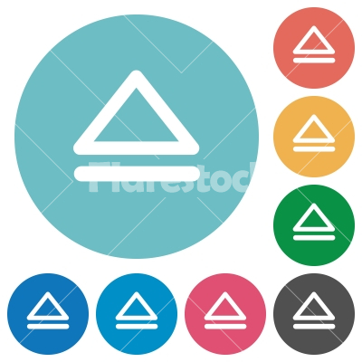 Media eject flat round icons - Media eject flat white icons on round color backgrounds