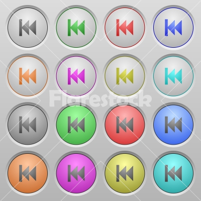 Media fast backward plastic sunk buttons - Set of Media fast backward plastic sunk spherical buttons. - Free stock vector