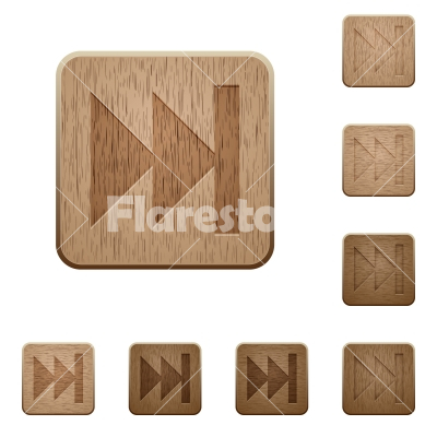 Media fast forward wooden buttons - Set of carved wooden Media fast forward buttons in 8 variations. - Free stock vector