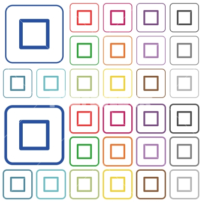Media stop outlined flat color icons - Media stop color flat icons in rounded square frames. Thin and thick versions included.