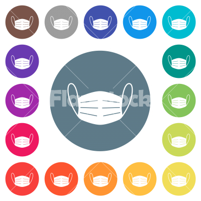 Medical face mask flat white icons on round color backgrounds - Medical face mask flat white icons on round color backgrounds. 17 background color variations are included.