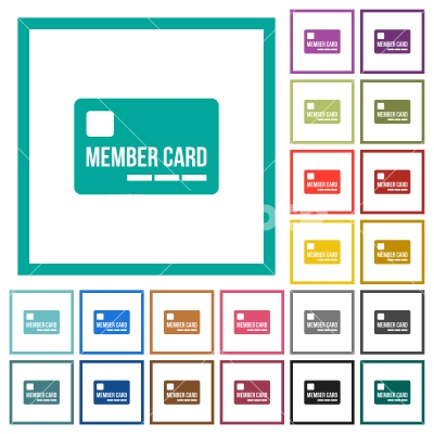 Member card flat color icons with quadrant frames - Member card flat color icons with quadrant frames on white background