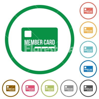 Member card flat icons with outlines - Member card flat color icons in round outlines on white background