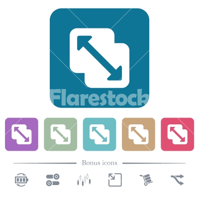 Merge shapes flat icons on color rounded square backgrounds - Merge shapes white flat icons on color rounded square backgrounds. 6 bonus icons included