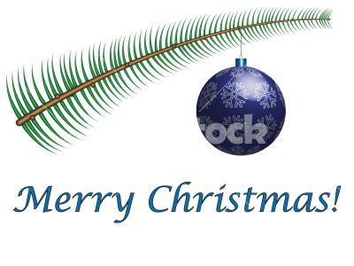 Merry Christmas - A simple christmas greeting card with fir branch and ornament