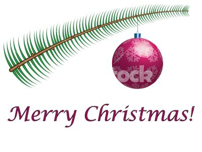 Merry Christmas! - Merry Christmas label with evergreen twig and ornament