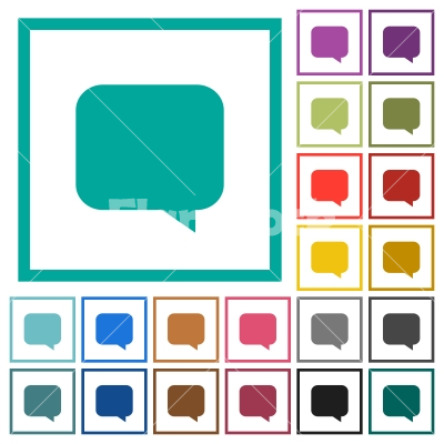 message bubble flat color icons with quadrant frames stock vector