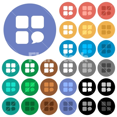 Message component round flat multi colored icons - Message component multi colored flat icons on round backgrounds. Included white, light and dark icon variations for hover and active status effects, and bonus shades on black backgounds.