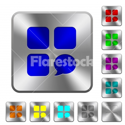 Message component rounded square steel buttons - Message component engraved icons on rounded square glossy steel buttons